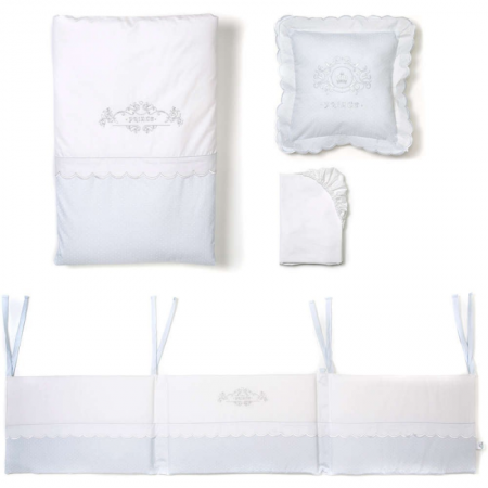 Mee-go 5 piece bedding bale Prince- powder blue & white