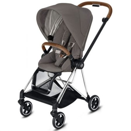 Cybex Mios Pushchair Soho Grey with Chrome Chassis Brown Handle