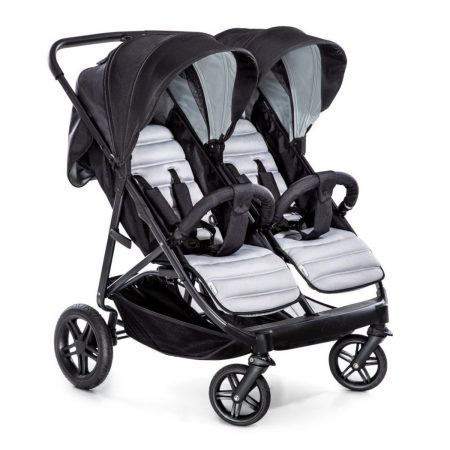 Hauck Rapid 3R Duo Twin Pushchair Silver/Charcoal + Adapter Set