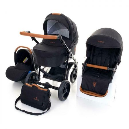 Venicci Gusto Black and Tan Pushchair, Carrycot, Car Seat Bundle