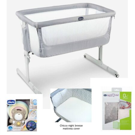 Chicco Next 2 Me `Air` Bedside / Stand Alone Crib Bundle Stone