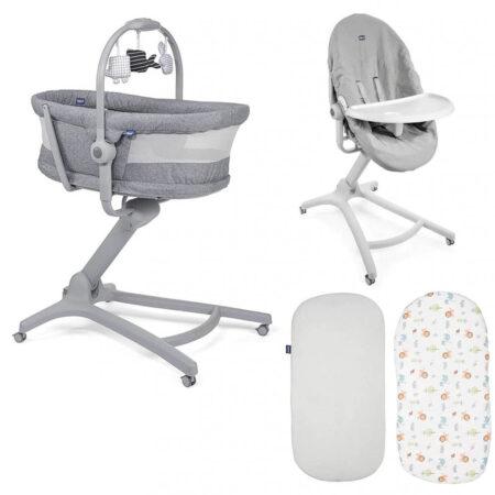 Chicco 4 in 1 Baby Hug Air Crib / Highchair Bundle - Titanium