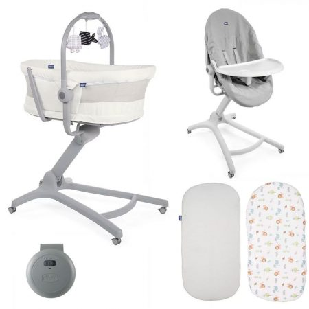 Chicco 4 in 1 Baby Hug Air Crib / Highchair 5 Piece Bundle - Snow White