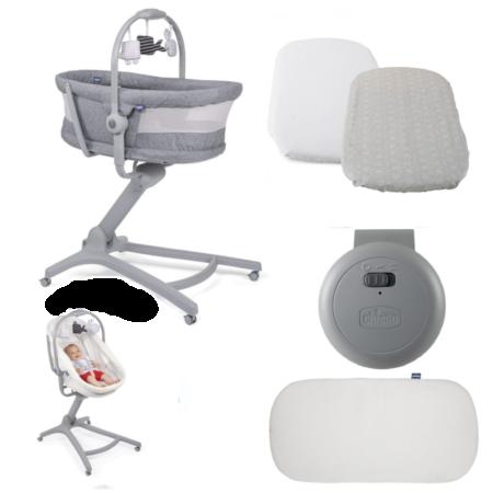 Chicco 4 in 1 Baby Hug Air Crib / Highchair 4 Piece Bundle - Titanium