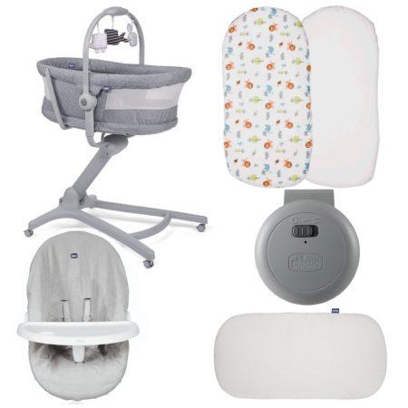 Chicco 4 in 1 Baby Hug Air Crib / Highchair 5 Piece Bundle - Titanium