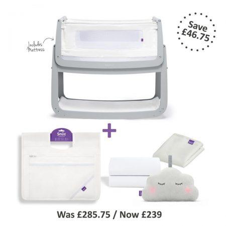 Snüzpod 4 Bedside Crib Complete Bundle - Dove Grey