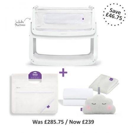Snuzpod 4 Bedside Crib Complete Bundle - White