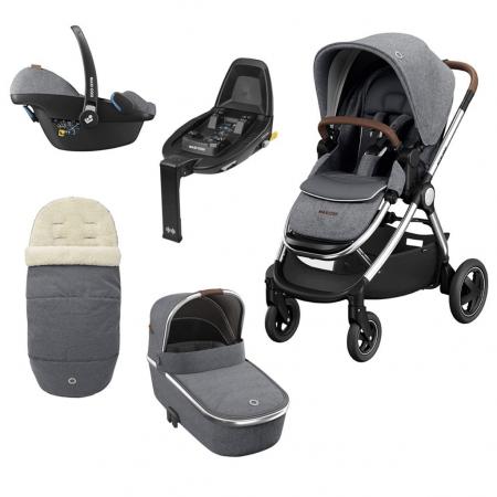Maxi Cosi Adorra Luxe, Carrycot, Pebble Pro Luxe & Familyfix2 Grey