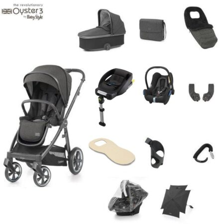 Babystyle Oyster 3 Pepper City Grey – Ultimate 12 Piece Bundle + Maxi Cosi