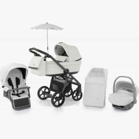 Babystyle Prestige 3 Blizzard with Grey frame/Black handle & Car Seat