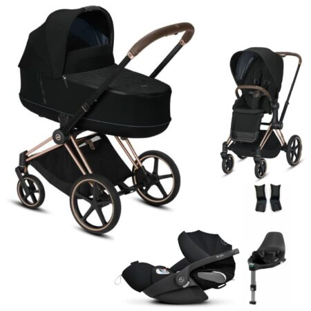 Cybex Priam Rose Gold  Deep Black Travel System Package