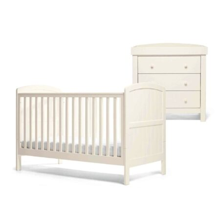 Mamas & Papas Dover 2 Piece Furniture Set Cot Bed And Dresser - White