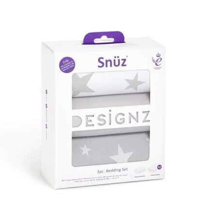 Snuzpod 3 Piece Crib Bedding Set - Grey Stars