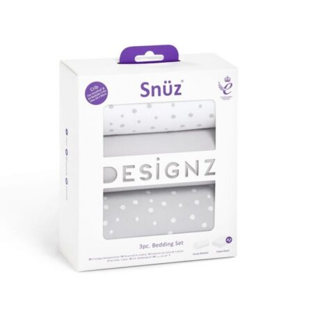 Snuzpod 3 Piece Crib Bedding Set - Grey Spots