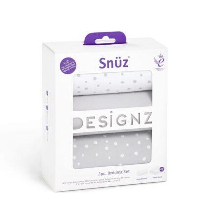 Snuzpod 3 Piece Crib Bedding Set - Grey Spots
