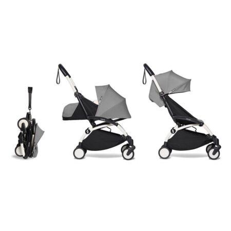 Babyzen YOYO2 Complete Stroller & Newborn 0+ pack- Grey / White Frame