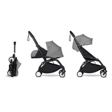 Babyzen YOYO2 Complete Stroller & Newborn 0+ pack- Grey / Black Frame