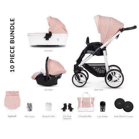 Venicci Pure Rose 2.0 Pushchair, Carrycot & Car Seat