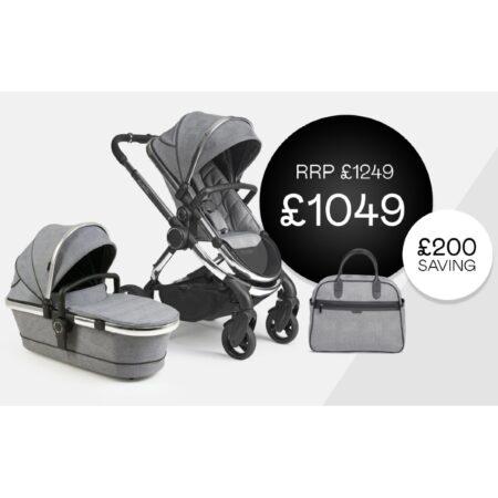 iCandy Peach Grey Check / Chrome Chassis bundle