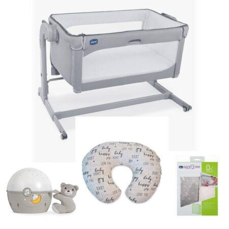 Chicco Next 2 me MAGIC Drop Bed Side Crib Bundle 2021 - Cool Grey