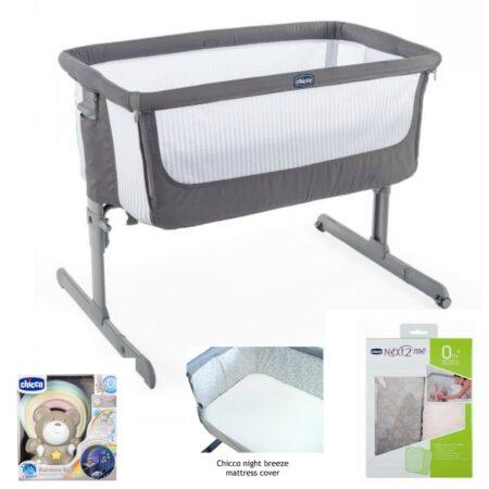 Chicco Next 2 Me Air Bedside Stand Alone Crib Bundle Dark Grey