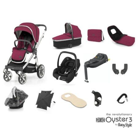 Babystyle Oyster 3 Cherry/Chrome 12 Piece Ultimate Bundle + Maxi Cosi Tinca