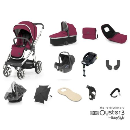 Babystyle Oyster 3 Cherry/Chrome 12 Piece Ultimate Bundle + Maxi Cosi Cabriofix