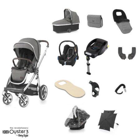 Babystyle Oyster 3 Mercury/Chrome 12 Piece Ultimate Bundle + Maxi Cosi Cabriofix