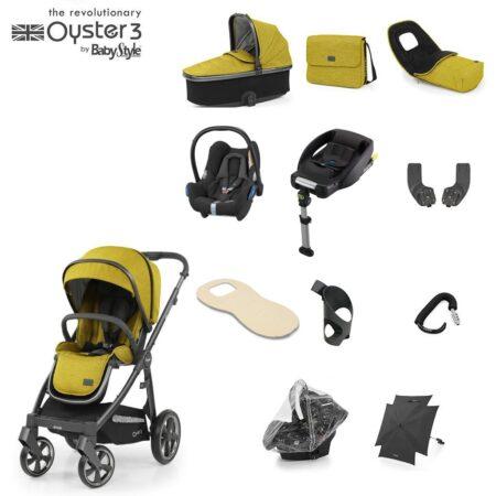 Babystyle Oyster 3 Mustard/City Grey 12 Piece Essential Bundle + Maxi Cosi Cabriofix