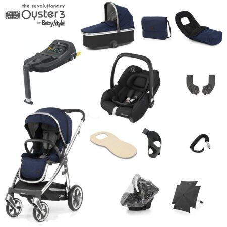 Babystyle Oyster 3 Rich Navy/Chrome 12 Piece Luxury Bundle + Maxi Cosi Tinca