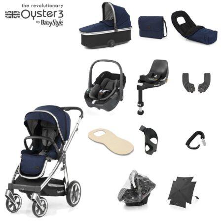 Babystyle Oyster 3 Rich Navy/Chrome 12 Piece Luxury Bundle + Maxi Cosi Cabriofix