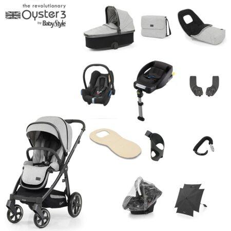 Babystyle Oyster 3 Tonic/City Grey 12 Piece Ultimate Bundle + Maxi Cosi Cabriofix