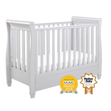Babymore Eva Sleigh Drop Side Cot Bed - Grey