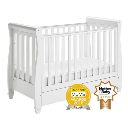 Babymore Eva Sleigh Drop Side Cot Bed - White